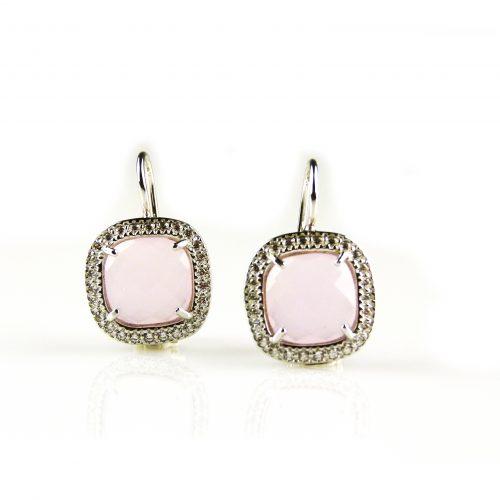 zilveren oorbellen oorringen gezet met roze ste