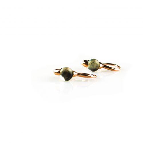 zilveren oorbellen oorringen roségoud verguld gezet met blauwe steen