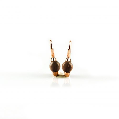 zilveren oorbellen oorringen roségoud verguld gezet met bruine steen