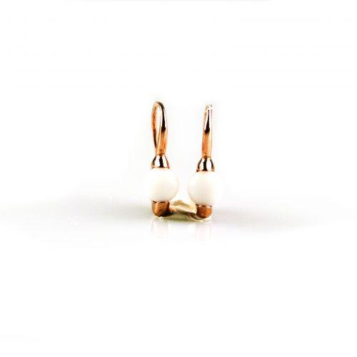 zilveren oorbellen oorringen roségoud verguld gezet met witte steen