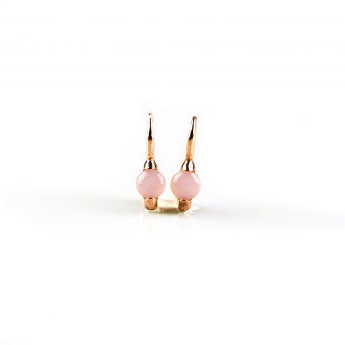 zilveren oorbellen oorringen roségoud verguld gezet met roze steen