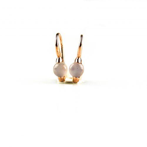 zilveren oorbellen oorringen roségoud verguld gezet met grijze steen