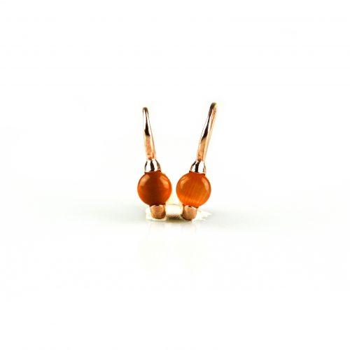 zilveren oorbellen oorringen roségoud verguld gezet met oranje steen