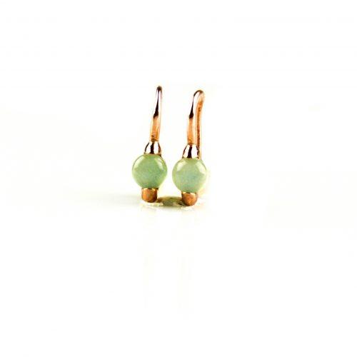zilveren oorbellen oorringen roségoud verguld gezet met groene steen