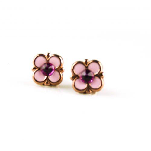 zilveren oorbellen roségoud verguld met roze email zilveren oorringen roségoud verguld met roze email