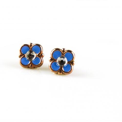 zilveren oorbellen roségoud verguld met blauwe email zilveren oorringen roségoud verguld met blauwe email