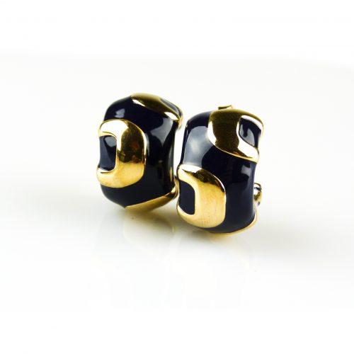 zilveren oorbellen geelgoud verguld met blauwe email zilveren oorringen geelgoud verguld met blauwe email