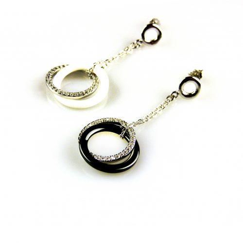 zilveren oorbellen oorringen gezet met cuboc zirco