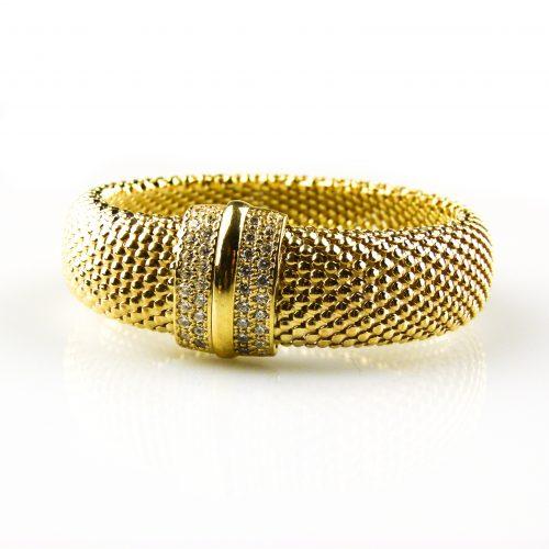 brede zilveren armband geelgoud verguld gezet met cubic zirconia
