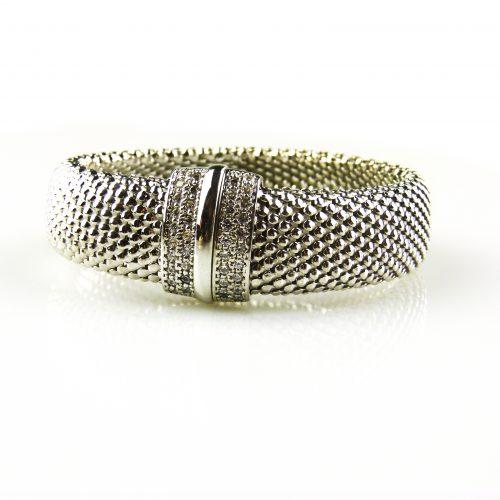 brede zilveren armband gezet met cubic zirconia