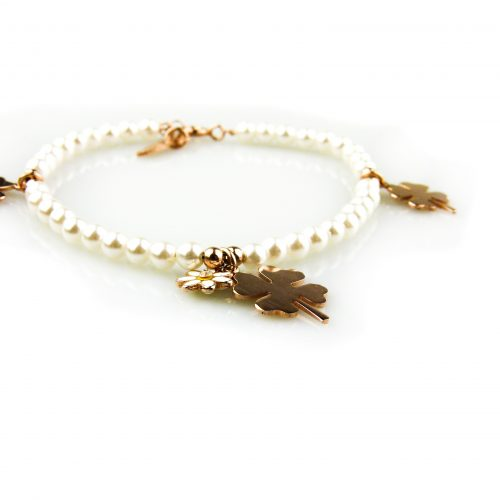 armband witte parels en roségoud vergulde bedels