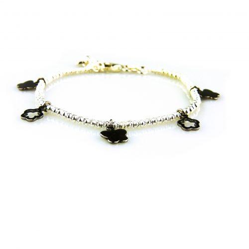 fijne zilveren armband zwarte bedels