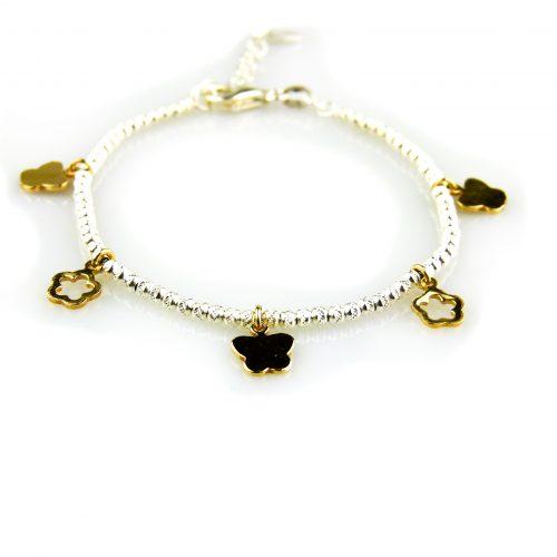 fijne zilveren armband met geelgoud vergulde bedels
