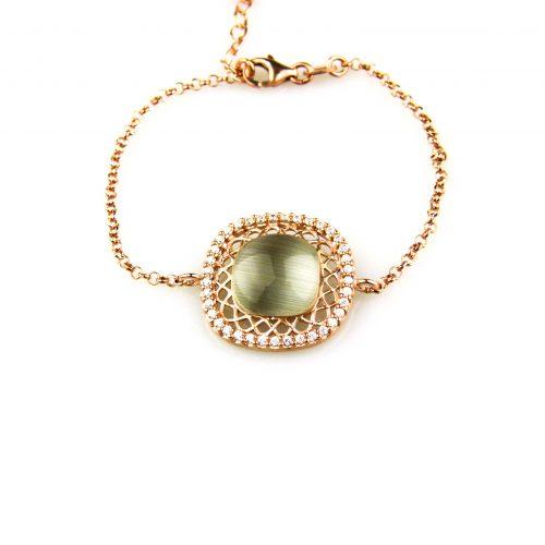 fijne zilveren armband roségoud verguld gezet met cubic zirconia en groene steen