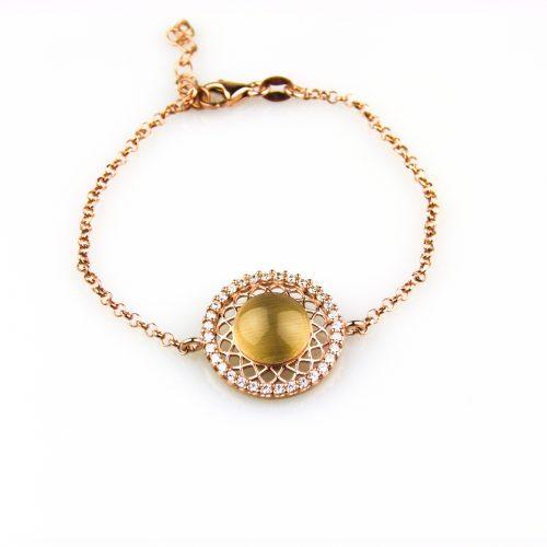 fijne zilveren armband roségoud verguld gezet met cubic zirconia en gele steen