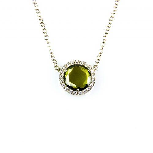 ketting in zilver met hanger groene steen en cubic zirconnia