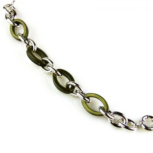 armband zilverkleurig brons en kaki kleurige
