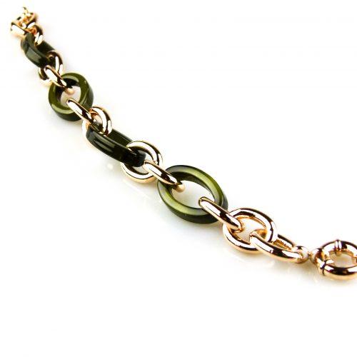 armband rozegoudkleurig brons en kaki kleurige schakels