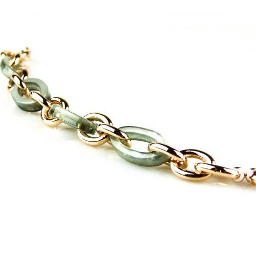 armband rozegoudkleurig brons en grijs groene schakels