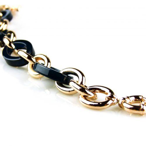 armband rozegoudkleurig brons en blauwe schakels