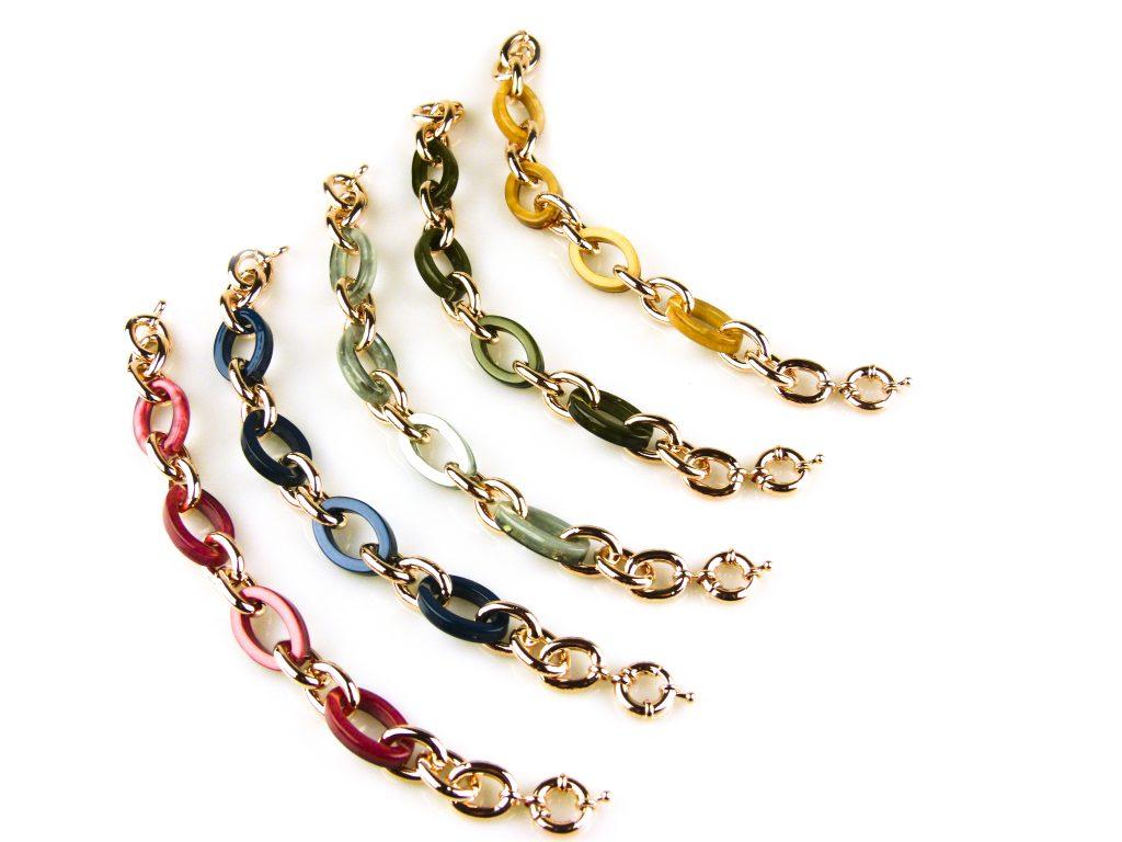 armband rozegoudkleurig brons en gekleurde schakels
