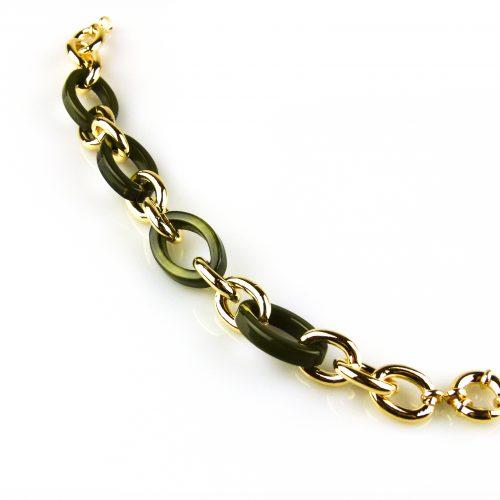 armband goudkleurig brons en kaki schakels