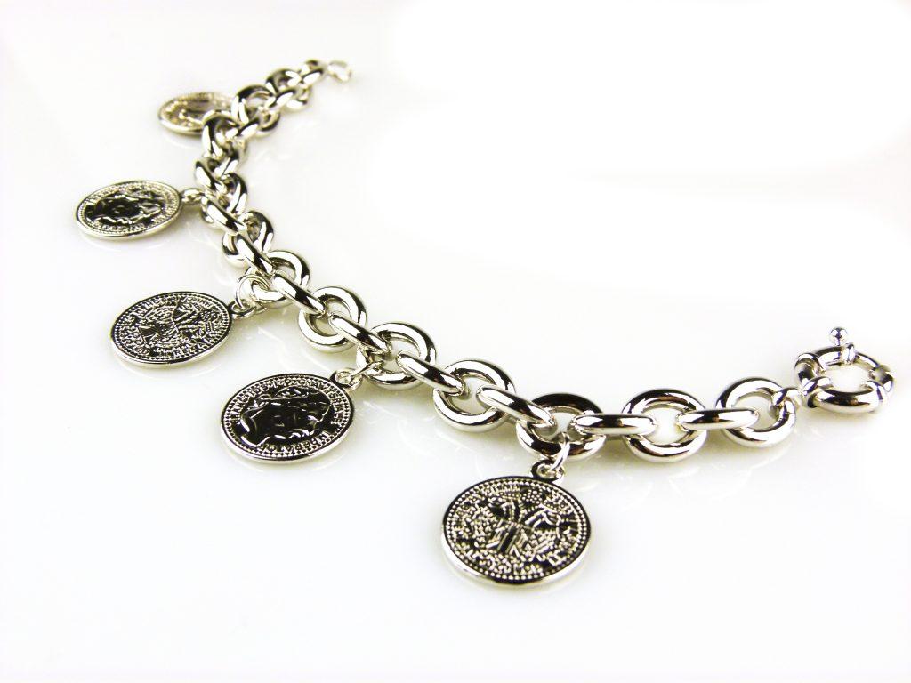armband zilverkleurig brons