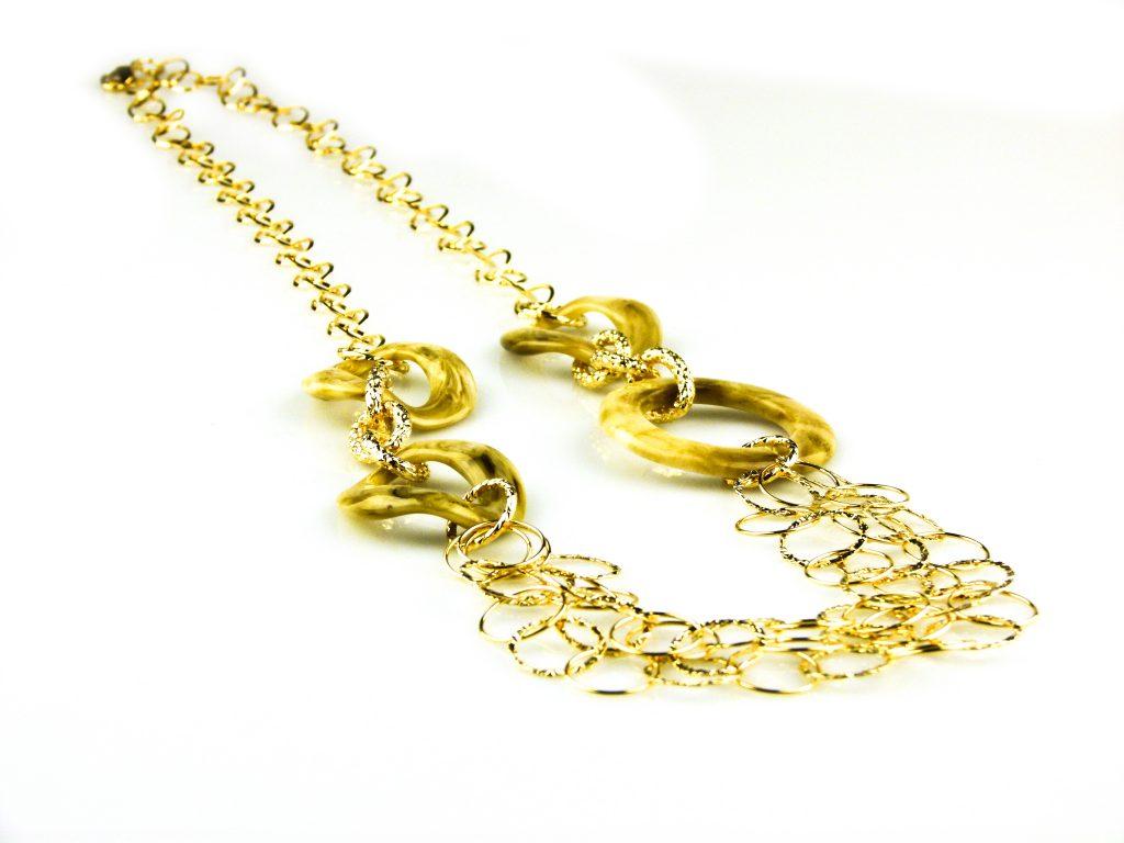 ketting lang geelgoud verguld brons