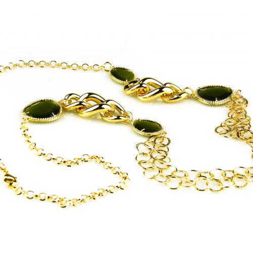 ketting lang geelgoud verguld groene stenen brons