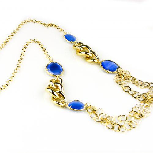 ketting lang geelgoud verguld blauwe stenen brons