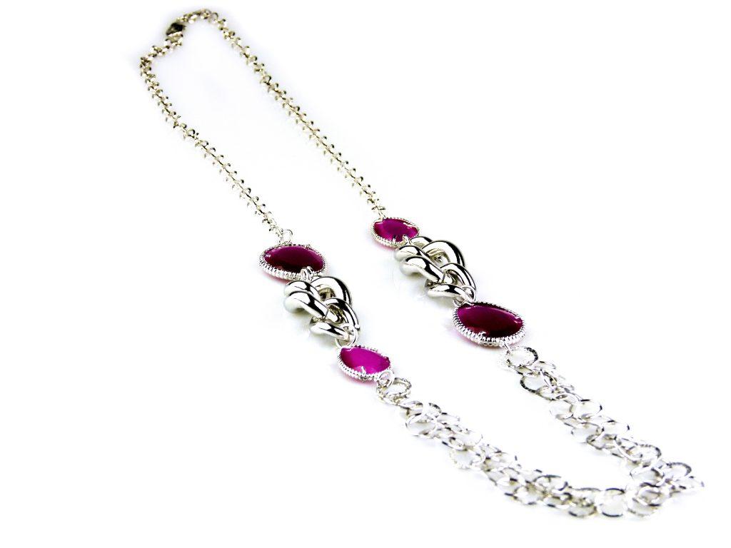 ketting lang zilverkleurig roze stenen brons