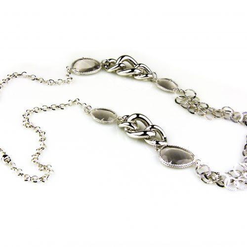 ketting lang zilverkleurig grijze stenen brons