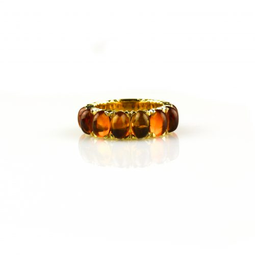 ring in geel goud gezet met citrien cabochons