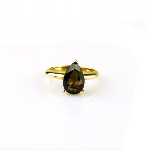 ring in geel goud gezet met rookkwarts