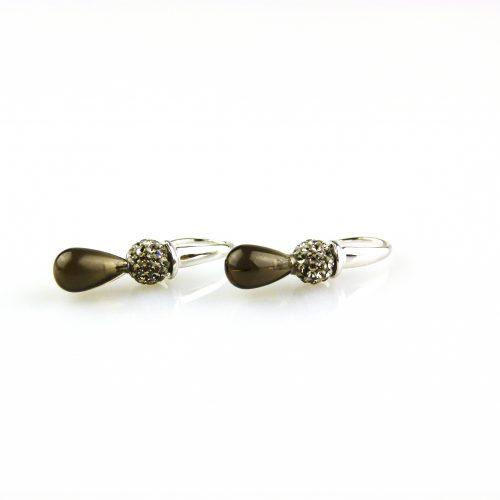 oorbellen oorringen in wit goud gezet met rookkwarts