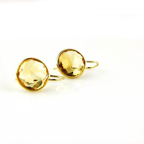 oorbellen oorringen in geel goud gezet met citrien