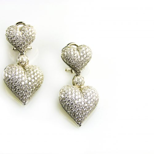 oorbellen oorringen in wit goud gezet met diamant