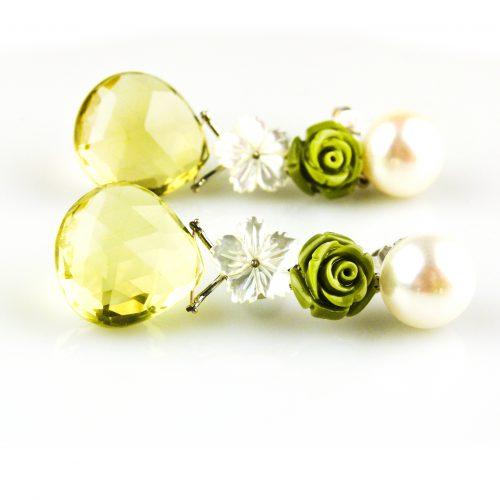 oorbellen oorringen in wit goud gezet met parel parelmoer en citroen topaas