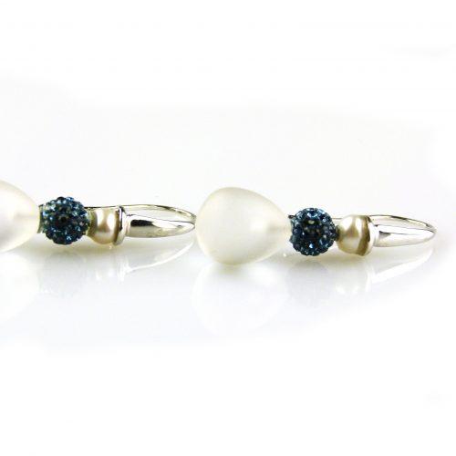 oorbellen oorringen in wit goud gezet met bergkristal