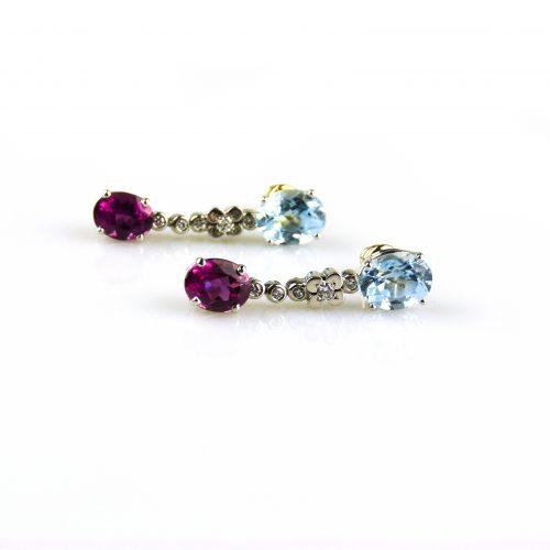 oorbellen oorringen in wit goud gezet met blauwe topaas roze toermalijn en diamant