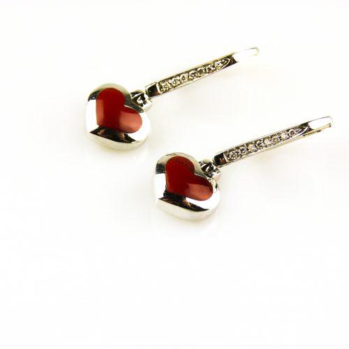 oorbellen oorringen in wit goud gezet met rode koraal en diamant