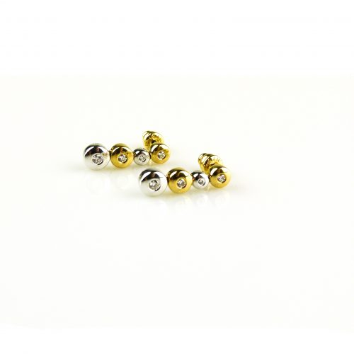 oorbellen oorringen in wit en geel goud gezet met diamant