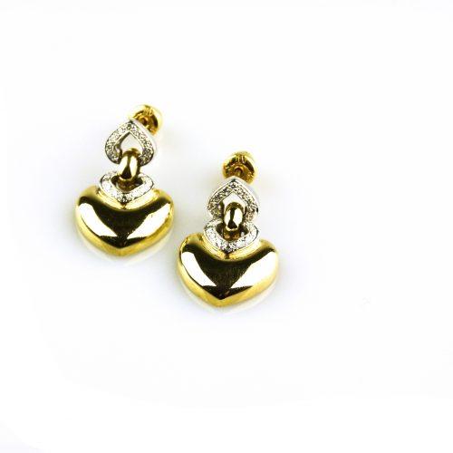 oorbellen oorringen in geel en wit goud gezet met diamant