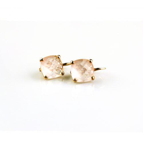 oorbellen oorringen in roos goud gezet met rozekwarts