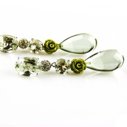 oorbellen oorringen in wit goud gezet met groene kwarts prasioliet