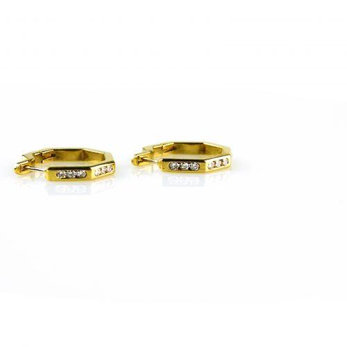 oorbellen oorringen in geel goud gezet met diamant