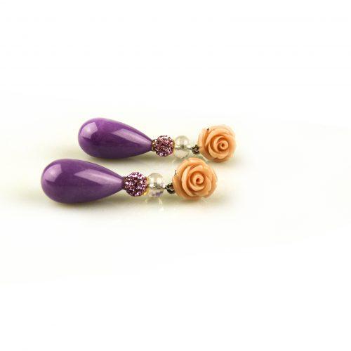 oorbellen oorringen in wit goud gezet met roze bloem en paarse steen