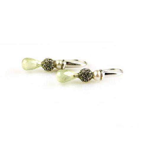 oorbellen oorringen in wit goud gezet met parel en groene kwarts