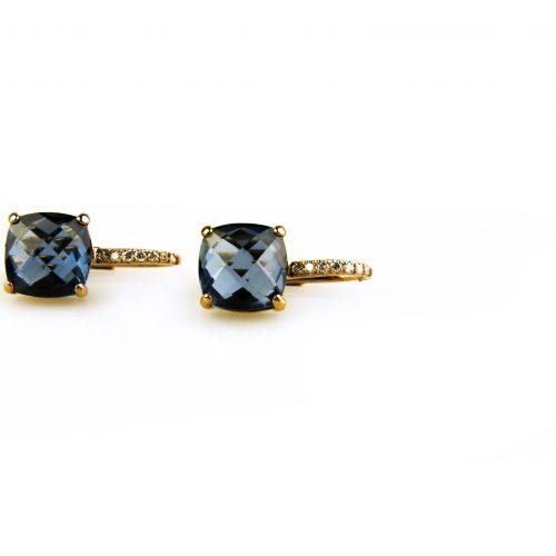 oorbellen oorringen in roos goud gezet met blauwe topaas en diamant