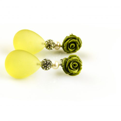 oorbellen oorringen in wit goud gezet met citroen topaas